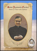 saint josemaria escriva holy card with medal