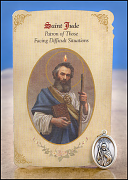 saint jude healing holy card with medal