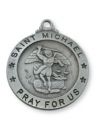 pewter st michael medal with 24 inch chain and box