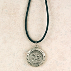 pewter st michael medal with 24 inch leather cord