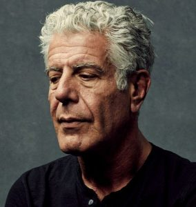Picture of Anthony Bourdain looking depressed due to transiting Saturn