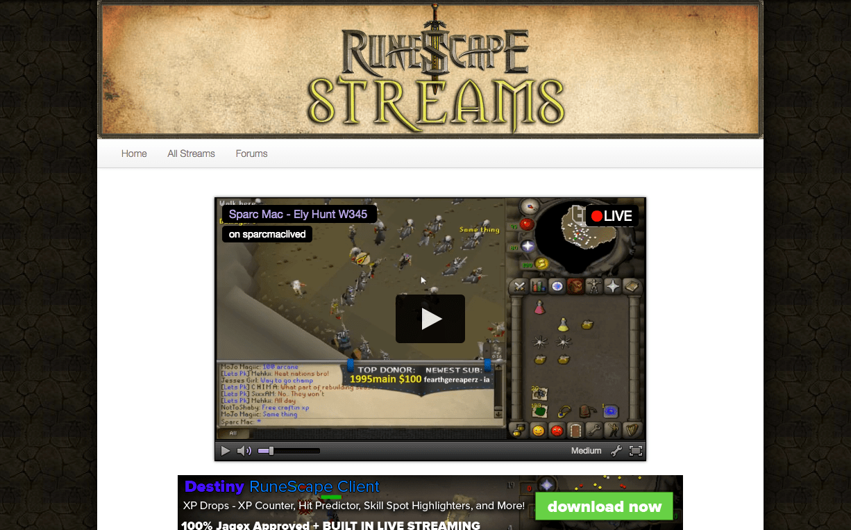 RuneScape Streams - Aaron Bartholomew Development