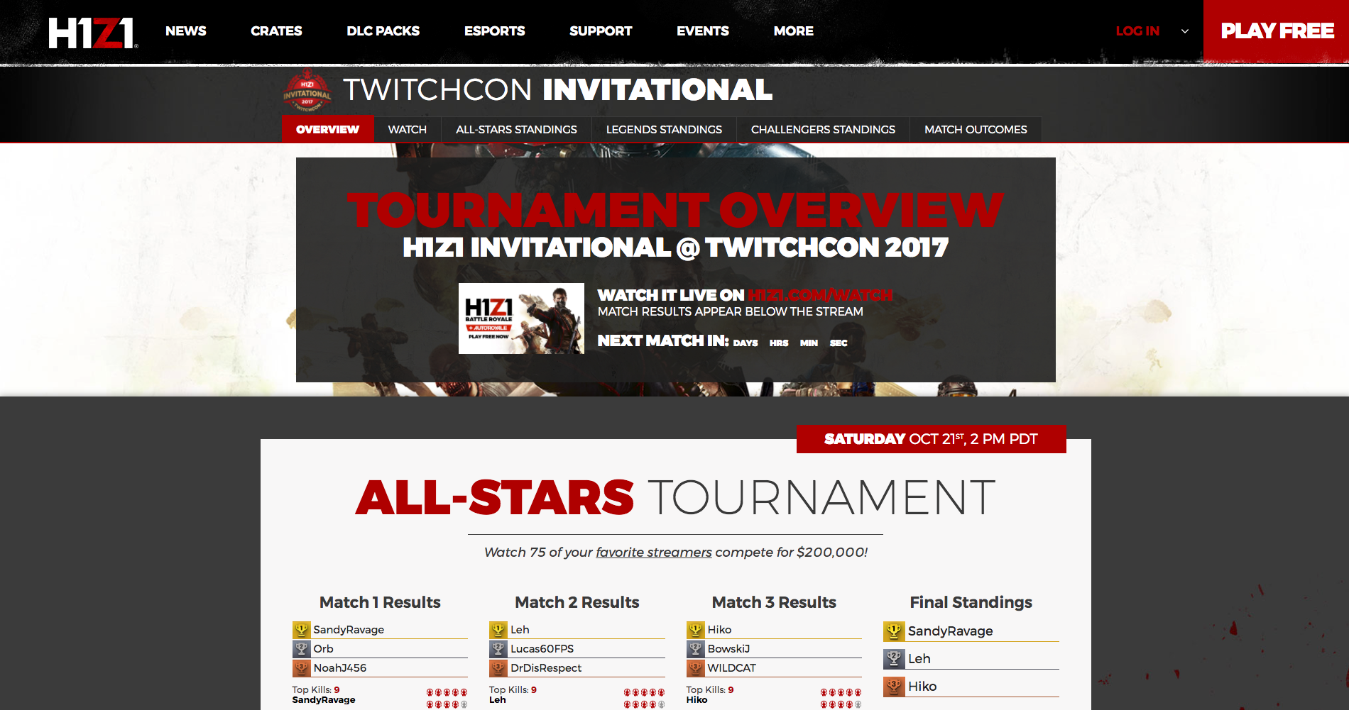 H1Z1 Tournament Microsites - Aaron Bartholomew Development