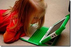 Hannah using the XO laptop
