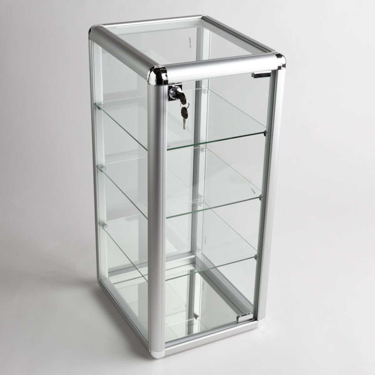 Glass Counter Top Aluminum Frame Locking Jewelry Display Case w/ 3 ...