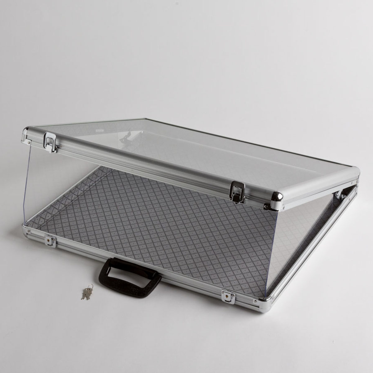 Small Portable Aluminum Amp Glass Counter Top Locking