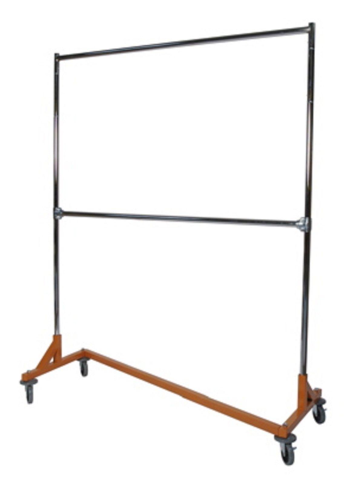 KD 5' Orange Double Bar Commercial Grade Z Rack Clothing Garment