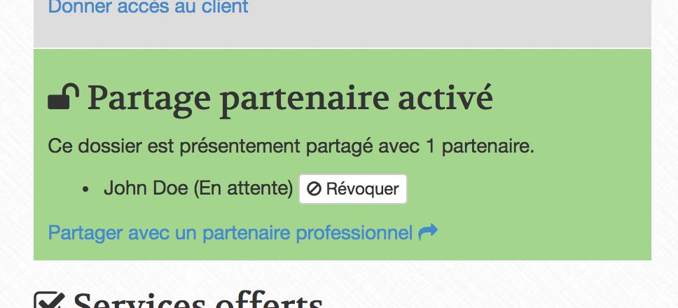 Révoquer le partage d'un dossier ABF Québec