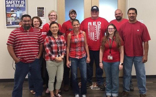 red shirt group photo