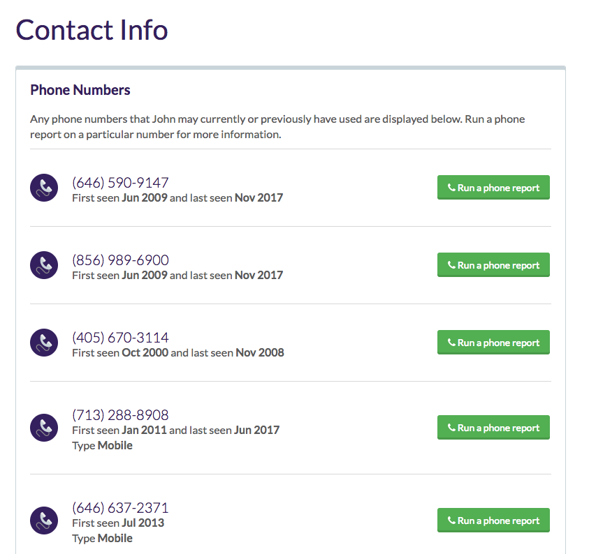 contact info found on Been Verified