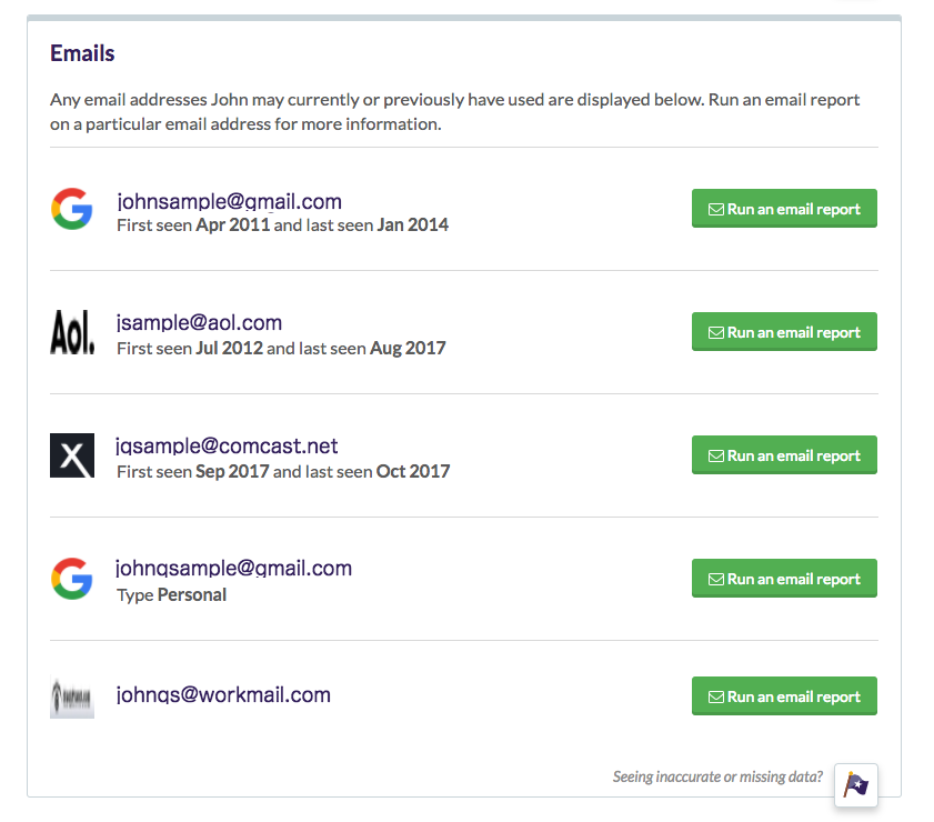 email addresses found on Been Verified