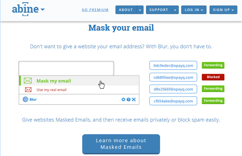 how to create a disposable email address blur masked email