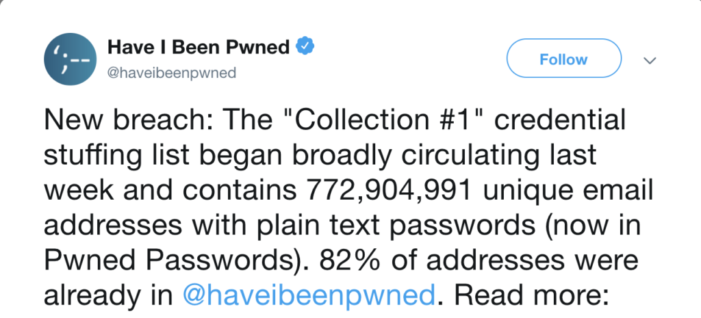biggest data breach 2019 collection #1 credential stuffing password manage
