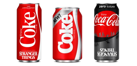 "In a first-of-its-kind partnership with Netflix, Coca-Cola resurrects the ""New Coke"" product from 1985."
