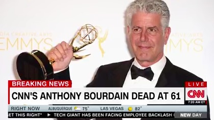 TV News Breaks In to Cover Death of Anthony Bourdain: 'It's Very, Very Hard for Us This Morning'