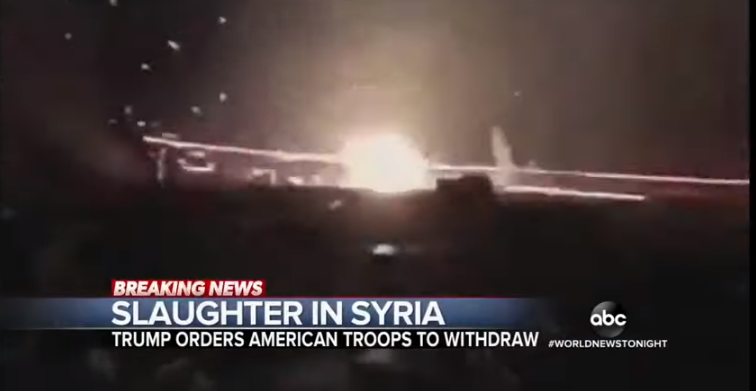 World News Tonight, GMA Air Footage of 2017 Kentucky Shoot and Gun Show, But Portray It as Turkish Military Bombing of Syria