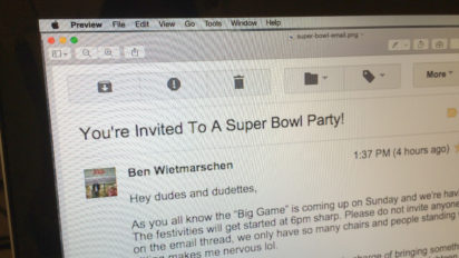 You're Invited To A Super Specific, Possibly Dangerous, Super Bowl Party!