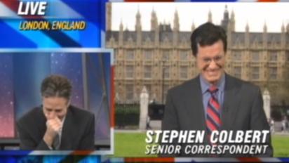 colbert stewart laughing