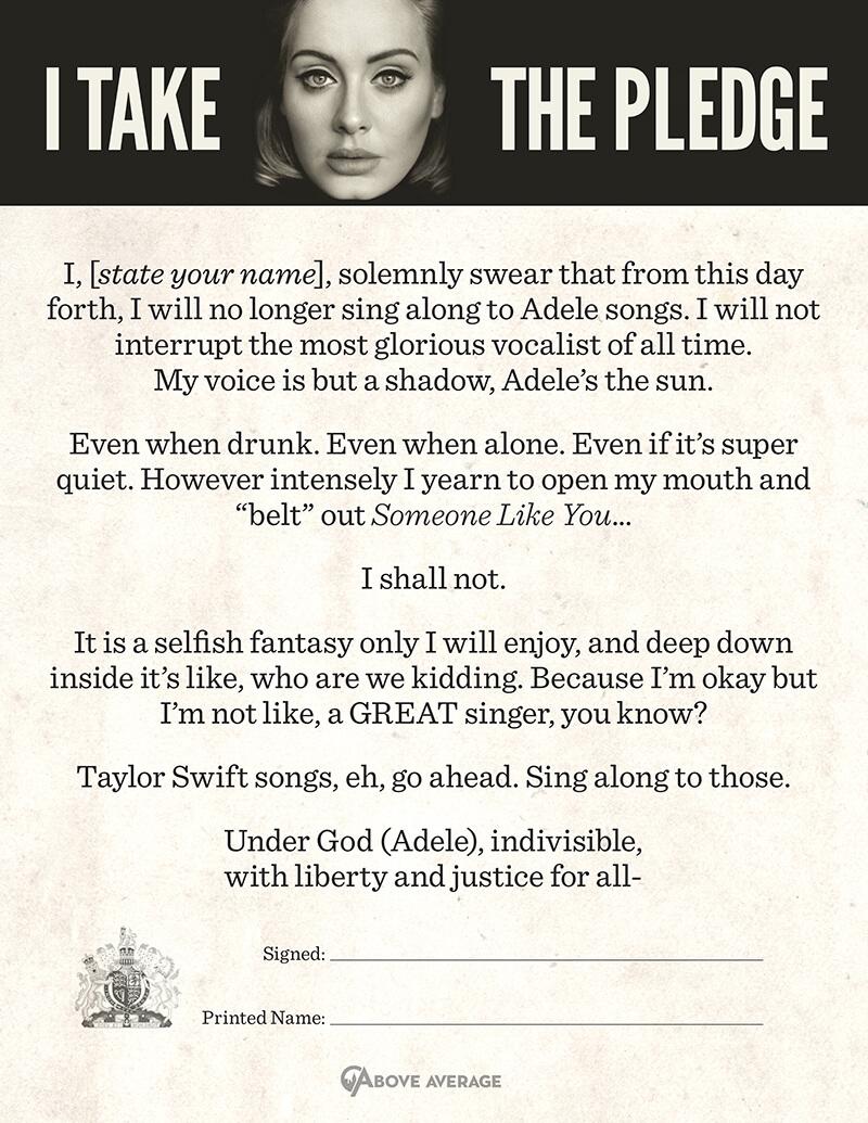 adele no sing pledge