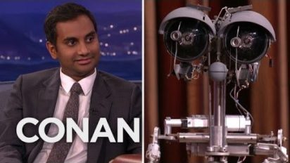 Aziz Ansari Talks Stereotypes With Fake Old Robot Johnny Five