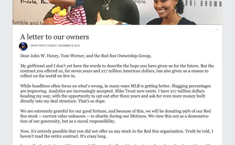 David Price Facebook Letter To Red Sox Ownership