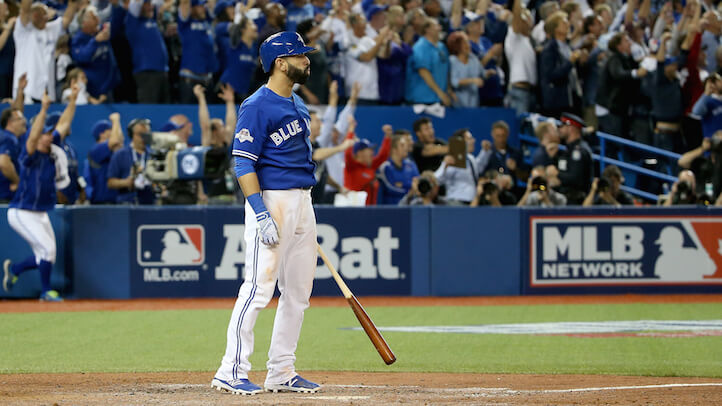TORONTO, ON - OCTOBER 14:  Jose Bautista #19 of the Toronto Blue Jays watches after he he hits a three-run home run in the seventh inning against the Texas Rangers in game five of the American League Division Series at Rogers Centre on October 14, 2015 in Toronto, Canada.  (Photo by Tom Szczerbowski/Getty Images)