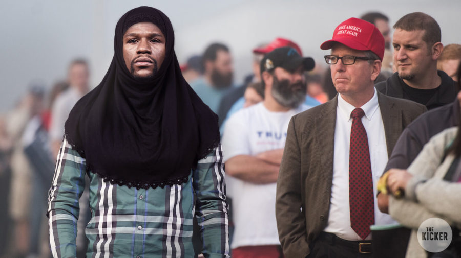 Floyd Mayweather Seen At Trump Rally, Fists Out, Wearing Muslim Headscarf