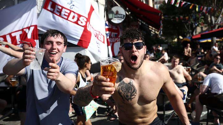 England soccer fans don't realize these beers are slowly luring them into a holding pen. (Getty)