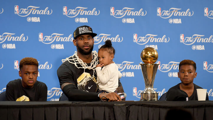 LeBron talks to the press after the Cavaliers swept most categories at the NBA Finals Award Show. (Getty)