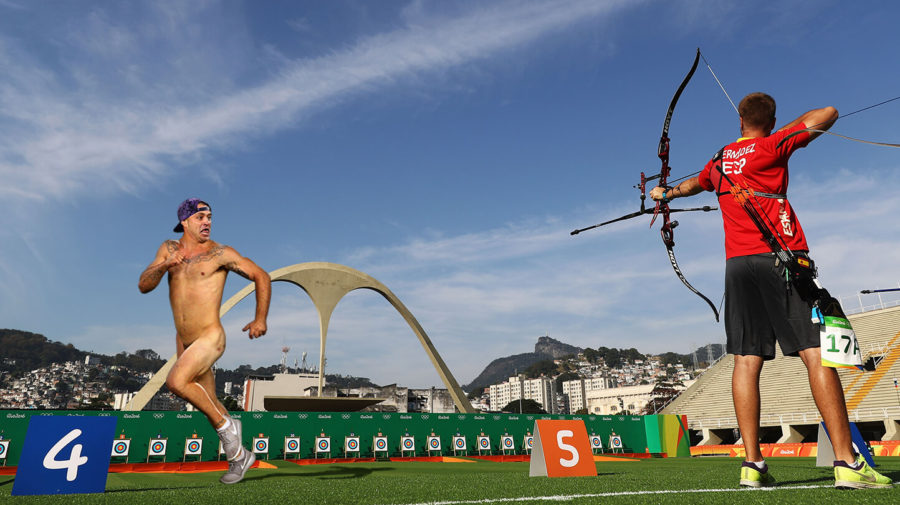 Streaker At Archery Event Really Regretting His Decision