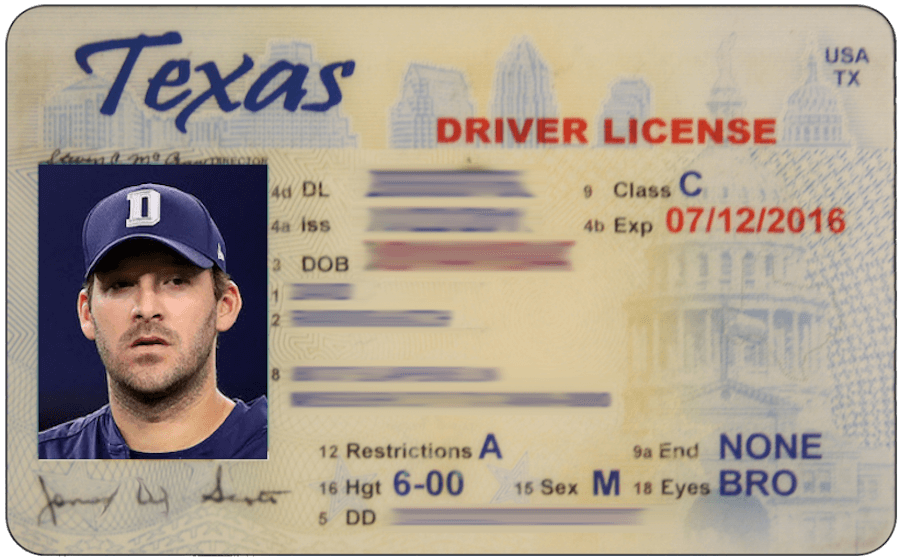 Tony romo acquires fake id that says he s 26 for Texas temporary drivers license template