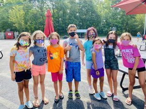 campers outdoors with masks