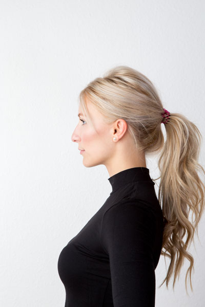 woman with low ponytail hairstyle