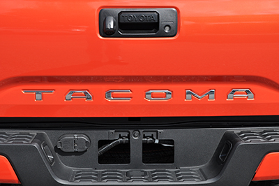 "Chrome ""Tacoma"" Tailgate Inserts"