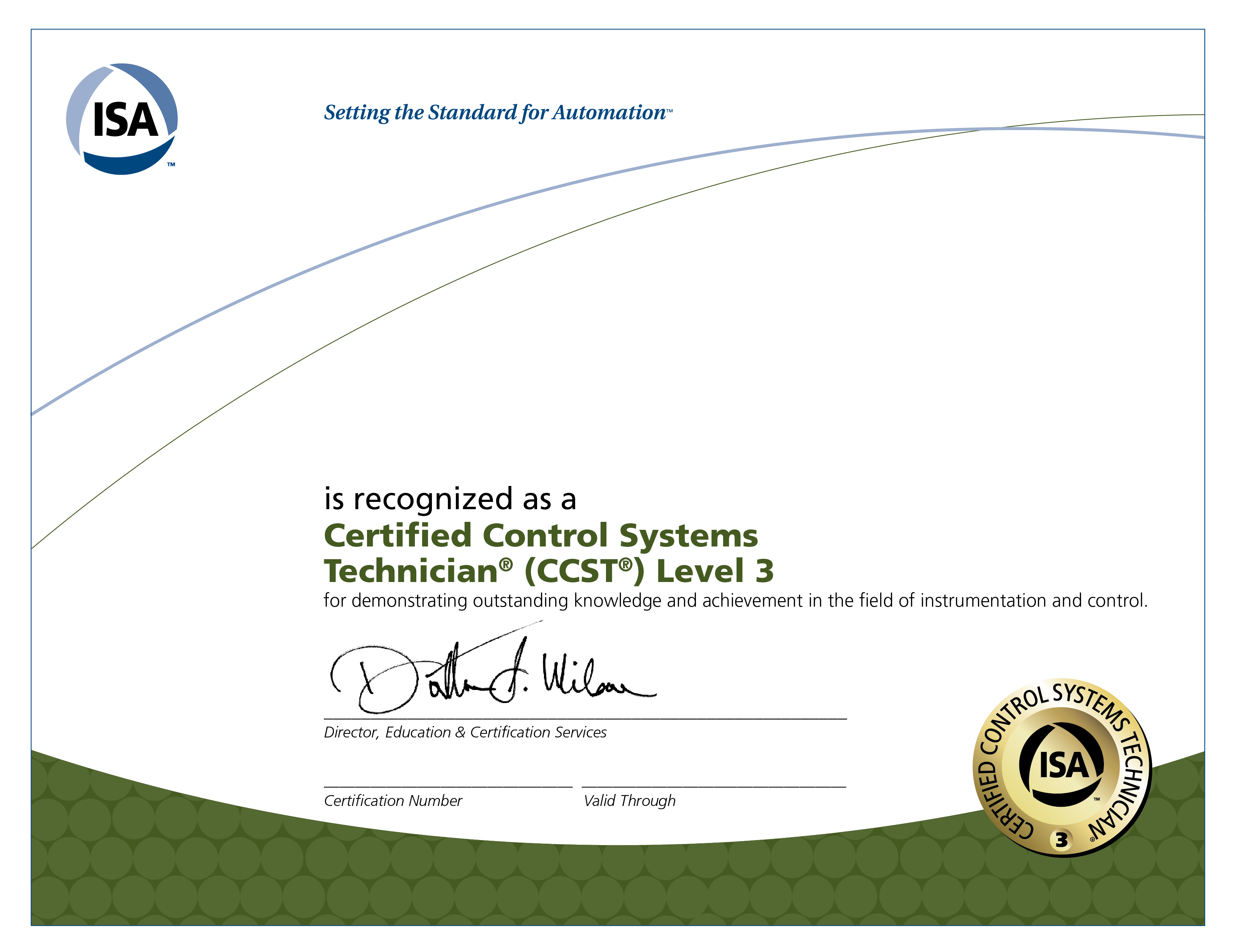 isa control systems certification certified technician ccst certificates system instrumentation accredible blockchain