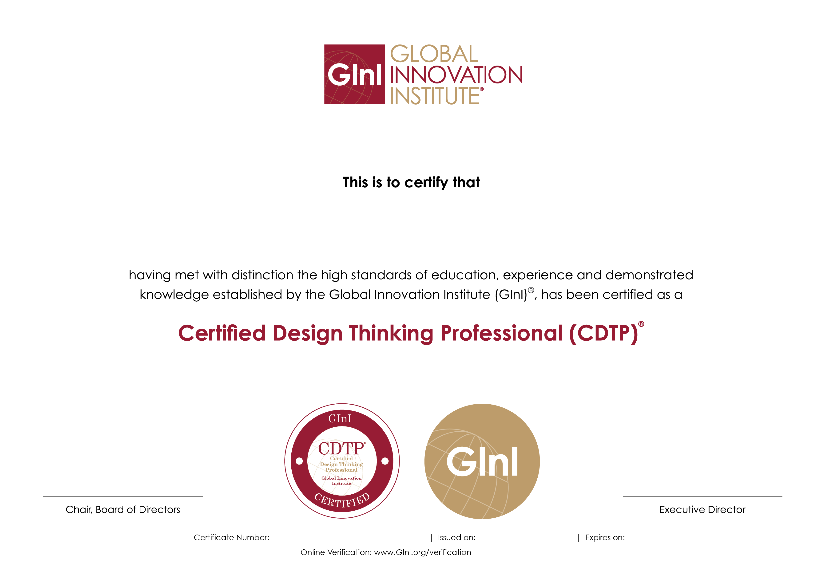 Certified Design Thinking Professional® (CDTP®) : GInI