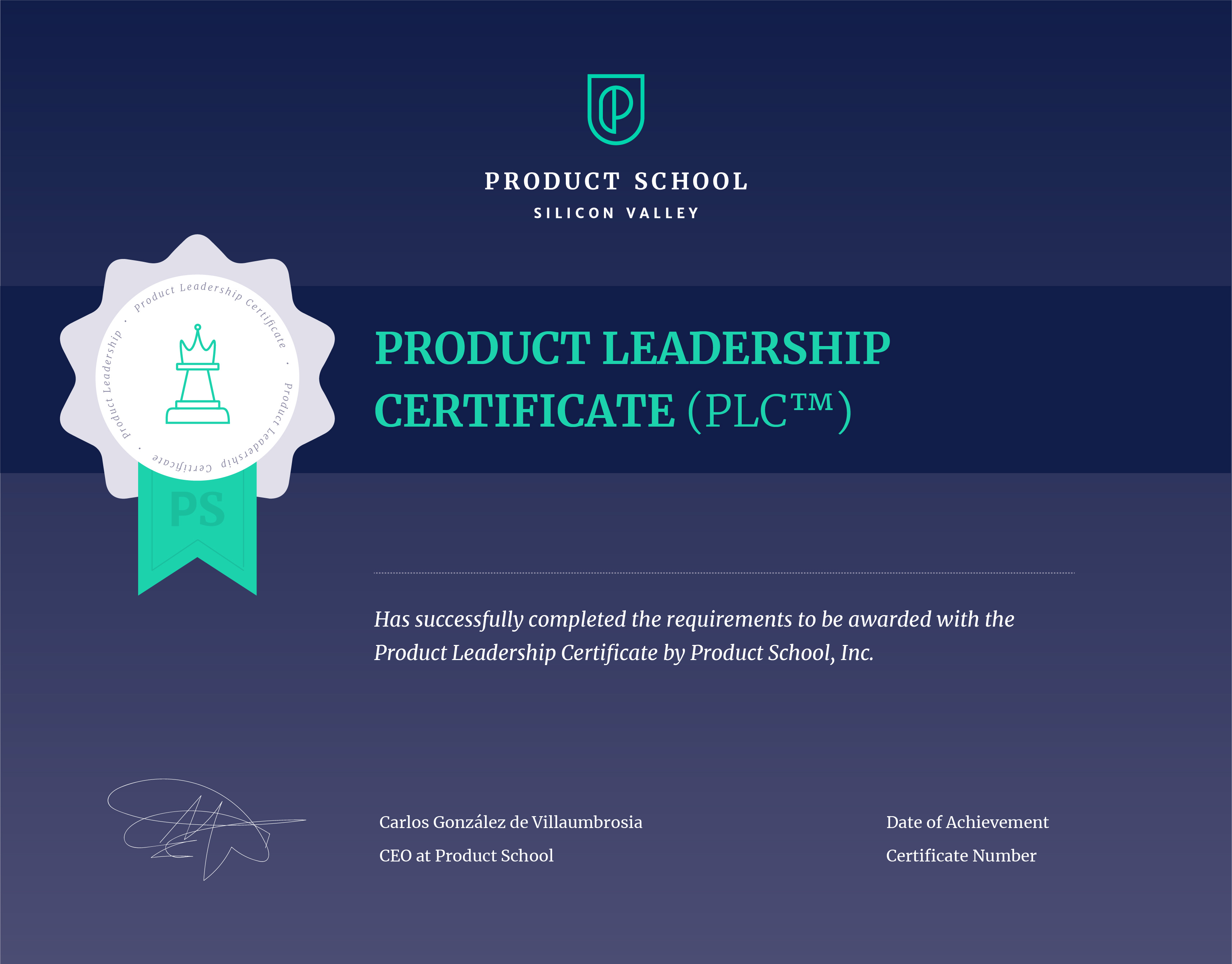 Product Leadership Certificate Product School Accredible