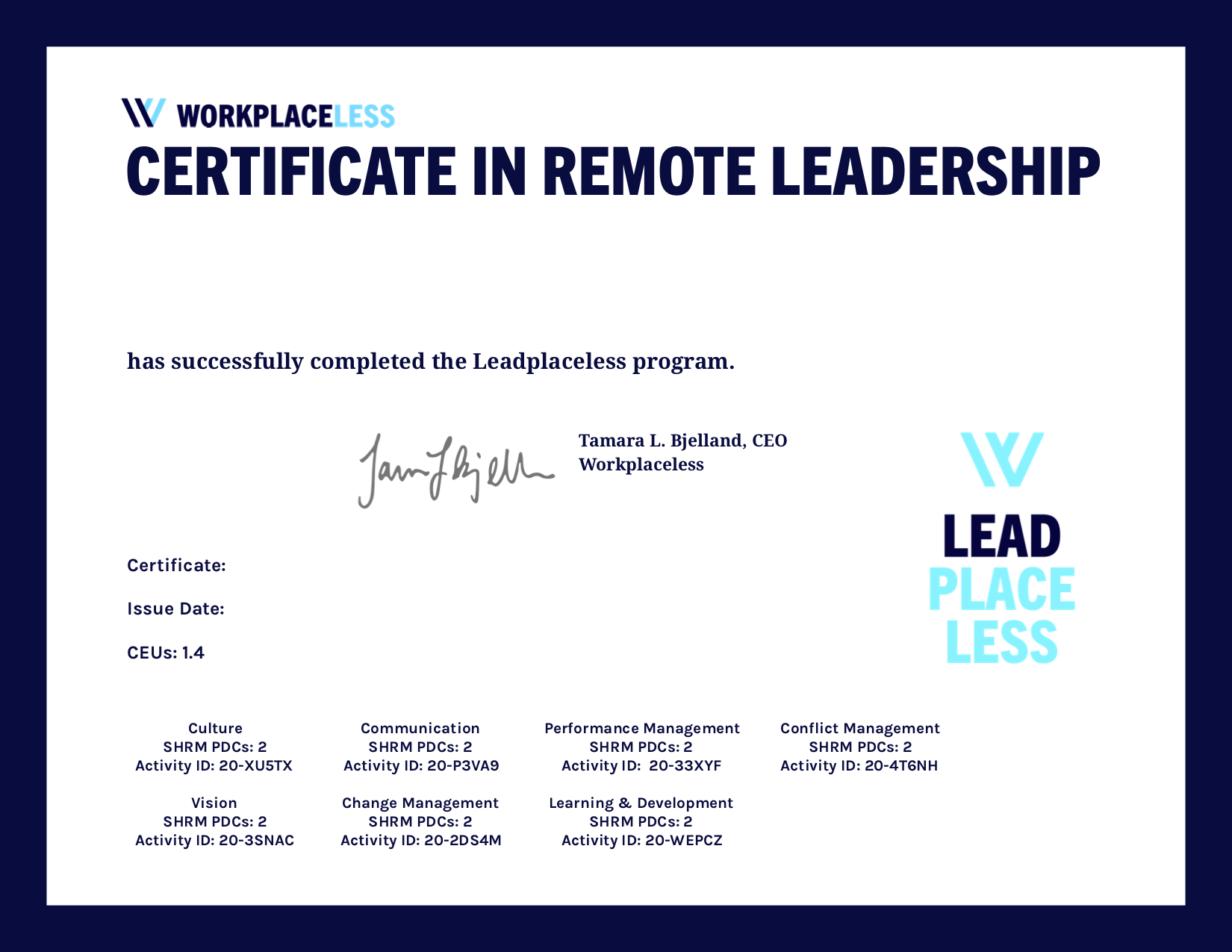 Workplaceless : Accredible : Certificates, Badges and