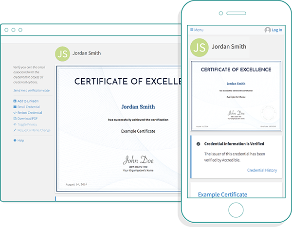 Responsive Digital Certificate Display