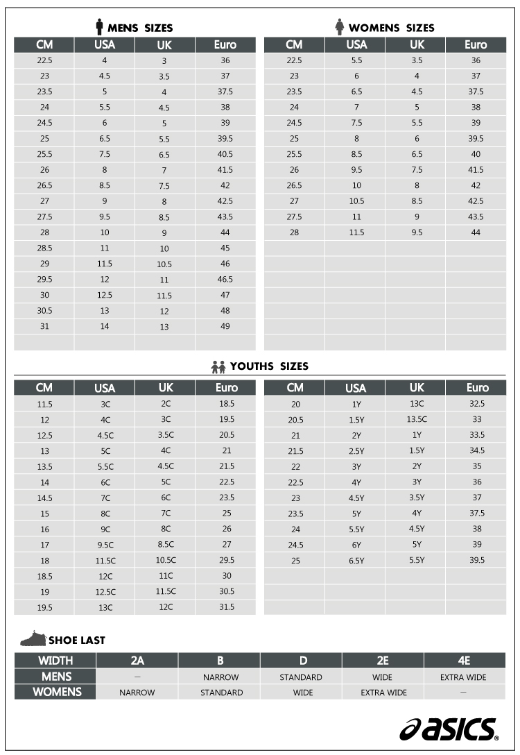 asics size chart