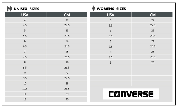 converse chuck taylor size guide