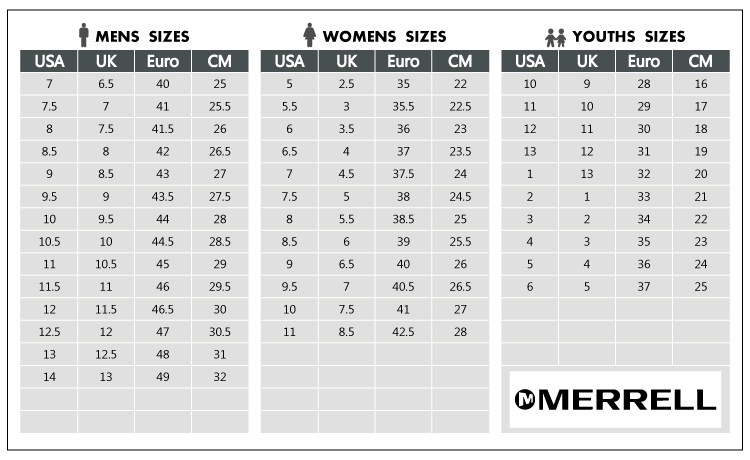 merrell womens shoes size guide zoom