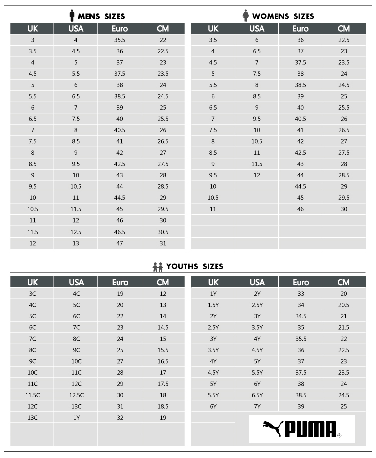 Puma shoes youth size chart come take a walk