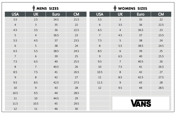 Vans Authentic Shoe Size Chart