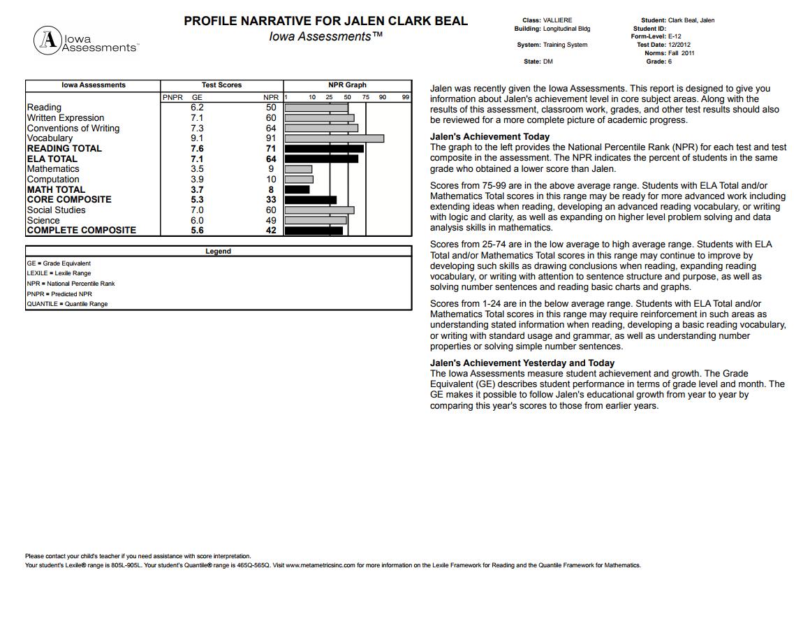 ... Student Scores · Iowa Individual Profile Narrative Report ...