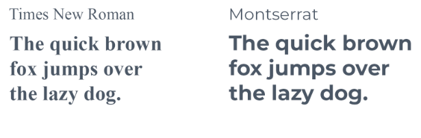 Fonts used in a sentence