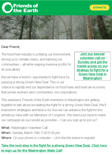 Friends of the Earth Volunteer Call Email