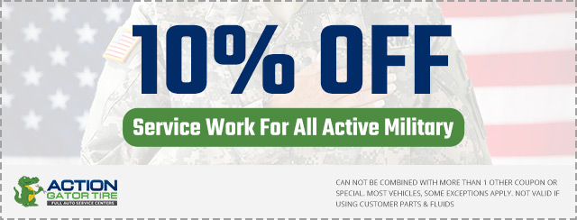 action gator tire military discount coupon ad