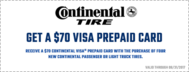 continental tire action gator tire 70 dollar prepaid card coupon