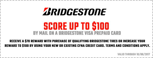 Bridgestone prepaid visa coupon